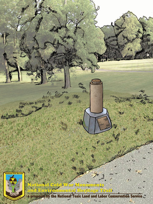 Artist's rendering of cast storage cask removed and installed as trail marker