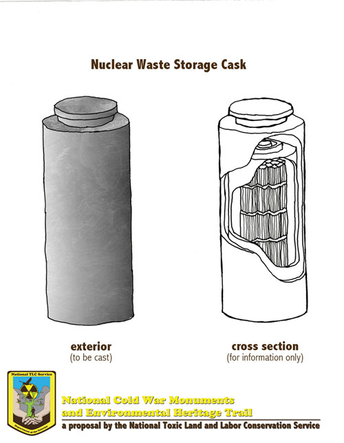 Artist's rendering of nuclear waste storage casks