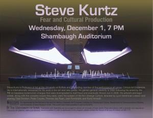 Poster for visiting artist Steve Kurtz