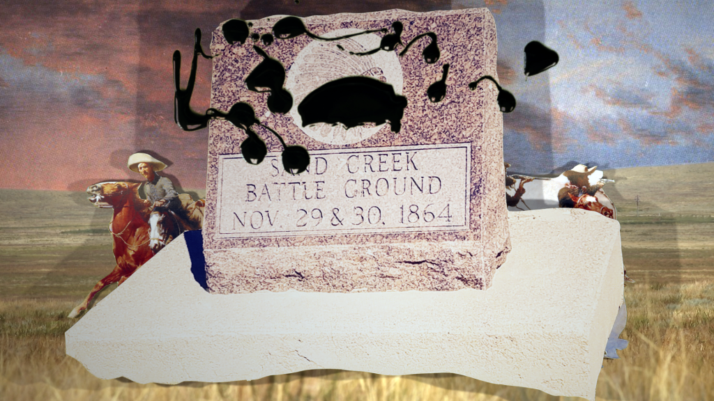 The collaged image of a monument to the Sand Creek Massacre is defaced with an oil-like substance and rises over a cutout from a Frederick Remington painting over a fracking pad in the background.